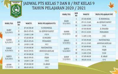 JADWAL PTS DAN PAT SEMESTER GENAP TP. 2020/2021